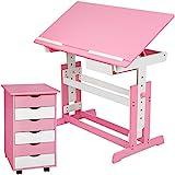 TecTake Kinderschreibtisch mit Rollcontainer Schreibtisch neig- & höhenverstellbar -diverse Farben-...