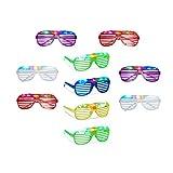 10 x Partybrille mit LED, Atzenbrille für Karneval und Fasching, Gitterbrille für Kinder, Blinkend...
