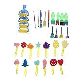 Sharplace 30er Set Mehrfarbig Strukturpinsel Schwamm Pinsel Stempel Kinder kreativ DIY Zeichnen...
