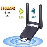 USB Wlan Adapter, M.Way USB 3.0 wlan Adapter AC1200Mbps Wireless USB Wifi Adapter, Mini Wlan Stick, 802.11n/g/b/a/ac externer Antenna Network Lan Card für Windows 10/8.1/8/7/XP/Vista (32/64bits) MAC OS