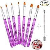 Pinselset 7-teilig für Nailart, UV-Gel, Acryl, 1er Pack von Ealicere (1 x 7 Stück) ...