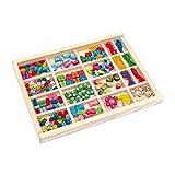 Fädelbox 'Vivien', Fädelspiel / Bastelspiel mit 13 verschiedenen Perlenvarianten aus Holz und sechs bunten Gummibändern zum Basteln von Schmuck, Armbändern und Freundschaftsarmbändern, Holzspielzeug ab 3 Jahre