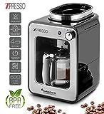 Edelstahl Kaffeemaschine mit integrierten Mahlwerk bzw. Kaffeemühle, 4-6 Tassen Filter-Kaffee - 0,6 Liter, Warmhalteplatte, Dauerfilter