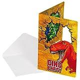12-teiliges Einladungen-Set * DINOSAURIER * mit 6 Einladungskarten und 6 Umschläge für Kindergeburtstag // FOLAT // Kinder Geburtstag Party Einladung Karten Dino T-Rex Dinos Saurier