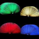 fodsports USB wiederaufladbare Faltbare LED-Nachtlicht Holz Book Light–2500mAh Lithium-Batterien Schreibtisch Lampe Warm white+Blue+Red+Green