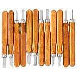 iSwank Schnitzwerkzeug Set Holzschnitzwerkzeug 12 tlg. 14cm Holz Schnitzmesser Stemmeisen für Einsteiger Holzschnitt Skulptur Holzschnitzerei DIY Holz Craft