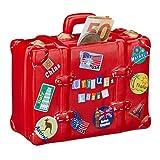 Relaxdays Spardose Urlaub, Koffer, mit Stickern, Urlaubskasse, Reisekasse, XXL, Sparbüchse, HxBxT:...