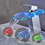 Auralum Glas Chrom LED Wasserhahn Einhandmischer Waschtisch Wasserfall Armatur Bad Küche Typ B