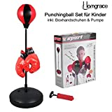 Homgrace Punchingball Boxen set mit Boxhandschuhen und Pumpe für Kinder Jugend, Höhenverstellbar...