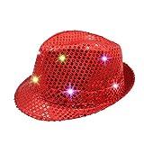 Namsan Jazz-Hut / Party-Hut, mit 9 blinkenden und farbenfrohen LEDs beleuchtet, mit Pailletten besetzt, rot
