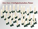 Lunartec Christbaumkerzen LED: 30er-Set LED-Weihnachtsbaum-Kerzen mit IR-Fernbedienung, Timer, weiß (Weihnachtsbeleuchtung kabellos)