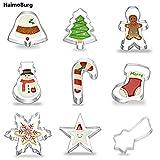 HaimoBurg 9er Set Weihnachten Edelstahl Ausstecher Ausstechform Keksausstecher zum Backen Fondant (9 Stück)
