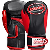 Farabi Kinder Boxhandschuhe, Junior Muay Thai Training Handschuhe, Kinder Boxsack mitt (Black/Red,...