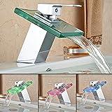 HENGMEI RGB LED Messing Glas Wasserhahn Wasserfall Waschtisch Armatur Waschtischarmatur...