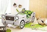Autobett Jeep inkl Rollrost + Matratze 90*200 cm Kinderbett Safari Geländewagen Dschungel Jugendbett Jugendliege Einzelbett Bett Kinderzimmer
