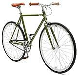 Critical Cycles Harper Fixed Gear Urban Commuter Single Speed Bike, Sage Green, 57cm