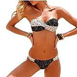 Aidonger Damen Push-up Drucken Bunt Rückwärts Bandeau Badeanzug Shorts Frauen Bikini-Sets mit...