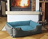 BedDog Hundebett LUPI / Hundesofa aus Cordura & Microfaser-Velours / waschbares Hundebett mit Rand / Hundekissen eckig / für drinnen & draußen / XXL / BLUE-ROCK / grau-blau