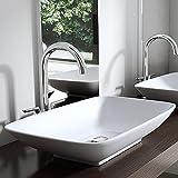 BTH: 59x37x10 cm Design Aufsatzwaschbecken Brüssel159 aus Keramik inkl. NANO-Beschichtung,...