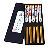 5 Paar Chopsticks Asiatisch Japanisch Bunte Fische Essstäbchen-Set Chinesische Stil Essstäbchen Geschenk