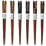 Gosear 6 Pairs Aus Holz Natürliche Japanischen Stil Anti-Rutsch Ess-Stäbchen Geschenk Geschirr-Set mit Gebundenen Linie