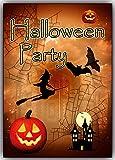 Halloween-Party Einladungskarten Set 12 Karten Einladung Kinder Jungen Mädchen mit Schloß Hexen Kürbis Vollmond Fledermaus Hexe auf dem Besen Erwachsene gruselig