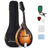 Donner Mandoline Instrument Sunburst Mahagoni DML-1 mit Tuner Saiten Tragetasche und Gitarren...