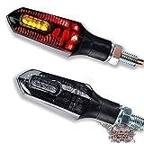 LED Mini Micro Motorrad Blinker Bremslicht Rücklicht Arrow Schwarz Getönt Smoke Quad Harley Chopper Bobber Cafe Racer