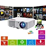 HD Projektor Smart WLAN - Bluetooth LED-Projektor-HD720, Full HD 1080p HDMI Beamer für Heimkino,...
