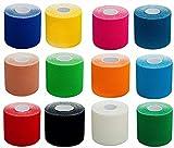 1x PREMIUM Kinesiologie Tape, elastische Qualitäts-Bandage / 100% gewebte Baumwolle,...