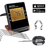 Digital Thermometer Fleisch mit 6 Fühler, Morpilot Bluetooth Grillthermometer Funk...
