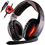 Gaming Headsets, SADES SA902 Kopfhörer Gaming Dolby 7.1-Surround-Sound für PC Mit Mikrofon Over...