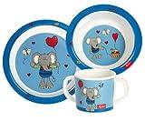 Sigikid 24405, Mädchen und Jungen, Melamin-Set, Teller / Schüssel / Tasse, Elefant Lolo Lombardo, blau