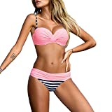 Damen Bikini Set Romacci Damen Bikini Set Bügel Push Up Striped Badebekleidung Zweiteilige Strand...