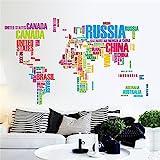 Bluelover Bunte Welt Karte Aufkleber Große Englische Alphabet Abnehmbare Wandtattoo