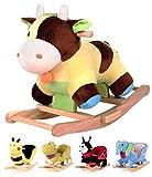 Schaukeltier Schaukelspielzeug mit Soundfunktion Schaukelpferd Plüsch Kuh