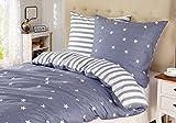 Bettwäsche Kinder 135x200 Baumwolle Sterne Reißverschluss 2-teilig Bettwäsche Set(blau/weiß)