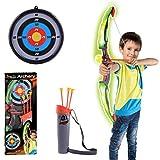 Mecotech Pfeil und Bogen Kinder LED Lichter Bogenschießen Schießspiele mit 3 Pfeilen Saugnapf, 1...