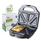 Aigostar Cieplo Steel 30CEX - Sandwich Toaster, 700 Watt, Toastplatten 23 x 13cm, BPA frei - Silber...