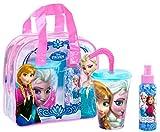 Disney Frozen/Die Eiskönigin Geschenk-Set (Eau de Toilette 100ml, Trinkbecher mit Strohhalm) in Anna und Elsa-Tasche für Mädchen