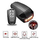 OUTERDO 3 in 1 Fahrrad Wireless Rücklicht Diebstahlschutz mit Fernbedienung Alarmschloss Smart Bell...