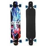 Swteeys Cruiser Longboard Restro Skateboard Outdoor Komplettboard ABEC kugellager Rollen Schwarz...