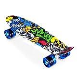 Enkeeo 57cm Mini Cruiser board Skateboard mit stabilen Deck 4 PU-Rollen für Kinder, Jugendliche und...