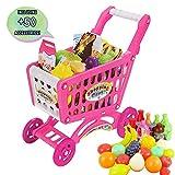(SPC-P) deAO Einkaufswagen für Kinder in zwei Farben erhältlich-Set enthält 50 Supermarktproudkte