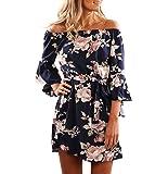 Yieune Sommerkleider Lange Ärmel Schulterkleid Blumenmuster Kurzes Strandkleid(Blau XL)