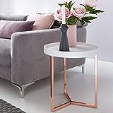 FineBuy Design Beistelltisch weiß / kupfer ø 40 cm Tabletttisch Holz Metall | Wohnzimmertisch mit Tablett Sofatisch modern | Kaffeetisch rund