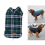 PupGo gemütlicher windundurchlässiger britischer Art-Plaid-Hundeweste-Winter-Mantel-warmer Hundekleid für Kalt-Wetter-Hundejacke (XXL, Grün)
