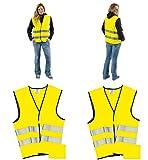 Warnwesten 4er Set gelb DIN EN ISO 20471 Sicherheitsweste zertifiziert mit Tasche Warnwesteset Gelb Auto Reflektorstreifen Klettverschluss