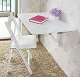 SoBuy® Küchentisch, Wandklapptisch, Esstisch, Schreibtisch, 2x klappbar, 80x60cm FWT02-W (Weiß)