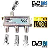 Eurosell - Breitband Kabel Verteiler 3-fach TV Weiche für DVB-T und Kabelfernsehen SAT DVBS DVBS2 DVBT DVBC Digital Full HD TV